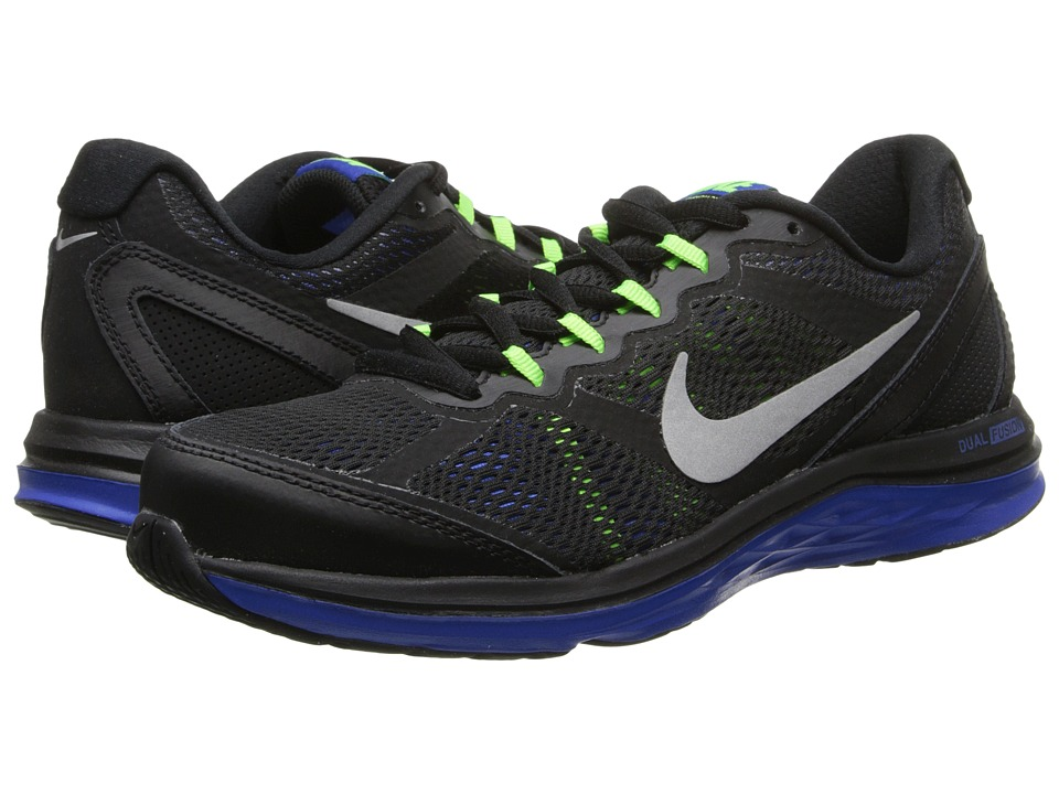 Nike - Dual Fusion Run 3 (Black/Hyper Cobalt/Electric Green/Metallic Silver) Men's Running Shoes