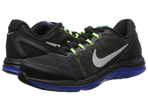 Nike - Dual Fusion Run 3 (Black/Hyper Cobalt/Electric Green/Metallic Silver) Men