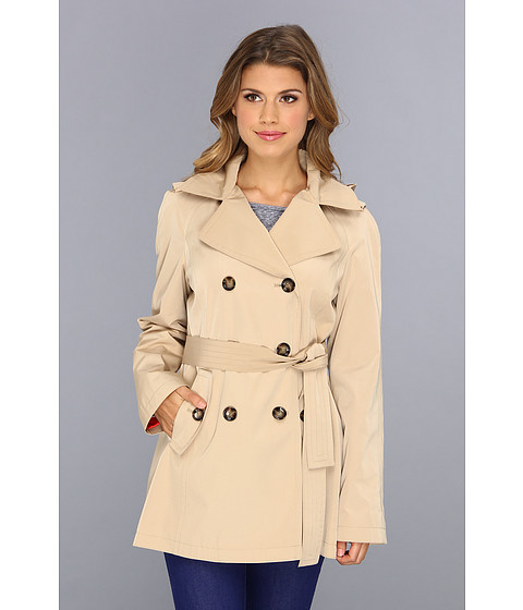 Calvin Klein - Double Breasted Trench Coat CW442028 (Khaki) Women's Coat