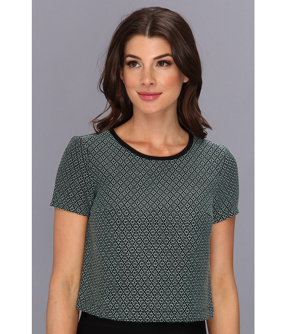 BCBGeneration - Woven Sportswear Top VSI1R804 (Oceanic) Women's Short Sleeve Pullover