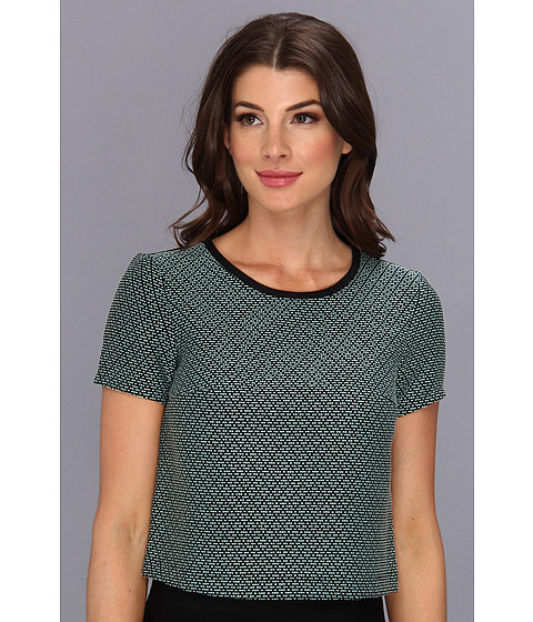 BCBGeneration - Woven Sportswear Top VSI1R804 (Oceanic) Women's Short Sleeve Pullover