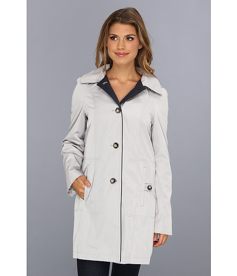 Nautica - Single-Breasted Hooded Rain Coat (White Gold/Mystic Blue) Women