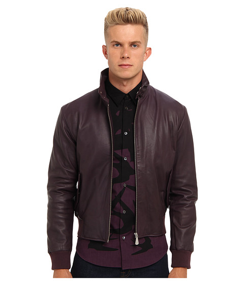McQ - Leather Harrington Jacket (Black Plum) Men's Coat