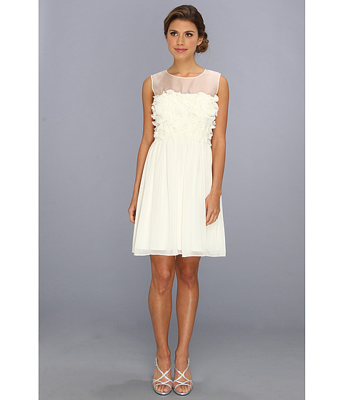 Donna Morgan - White Dress With Dye Cuts (Vanilla Bean) Women's Dress