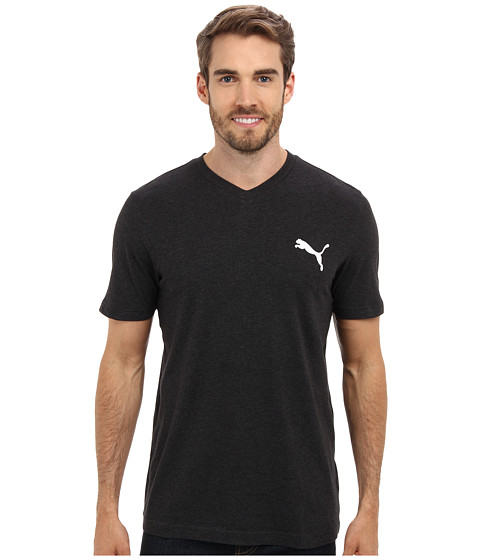 PUMA - Iconic V-Neck Tee (Dark Gray Heather) Men's Short Sleeve Pullover