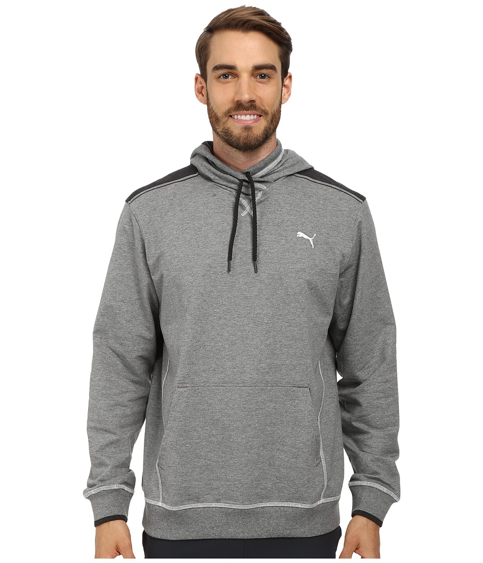 PUMA - Lightweight Hooded Henley (Medium Gray Heather) Men's Sweatshirt