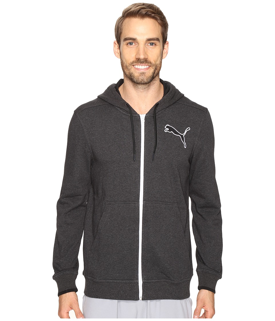 PUMA - Full Zip Hooded Jacket (Dark Gray Heather) Men's Jacket