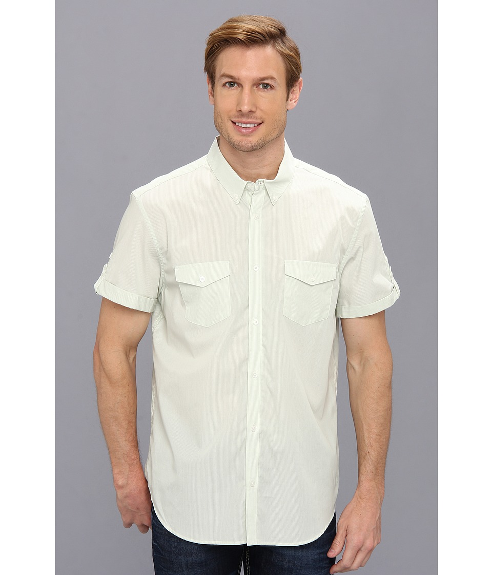 Calvin Klein - Yarn-Dyed Mini Stripe Poplin Button Down Shirt (Seabird Green) Men's Short Sleeve Button Up