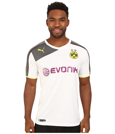 PUMA - BVB Third Replica Shirt (White/Dark Gray Heather/Dark Shadow) Men's Clothing