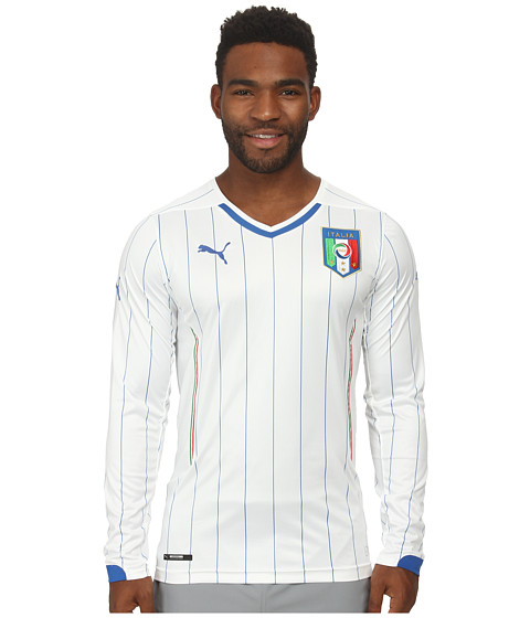 PUMA - Figc Italia Away L/S Shirt Replica (White) Men's Clothing