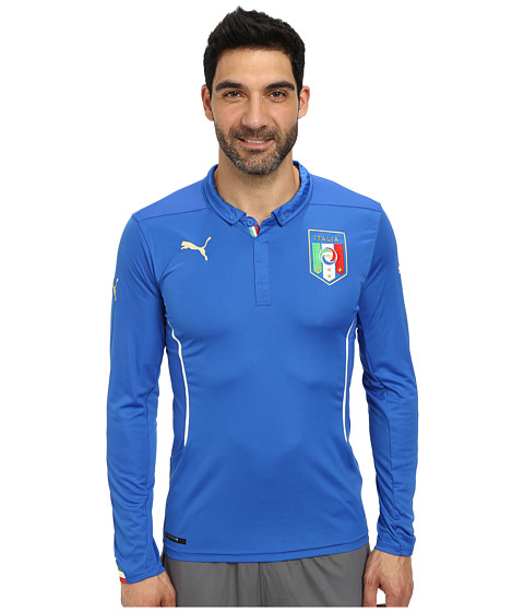 PUMA - Figc Italia Home L/S Shirt Replica (Team Power Blue) Men's Clothing