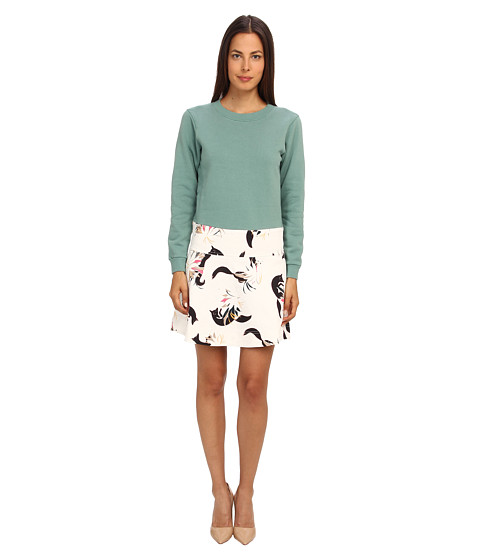 See by Chloe - L/S T-Shirt Dress with Fox Print (Berlyl Green/Fox) Women's Dress