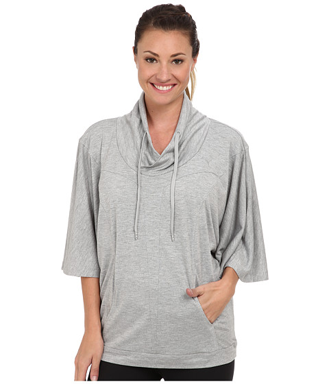 PUMA - Studio Yogini Cover Up (Athletic Gray Heather) Women's Sweatshirt