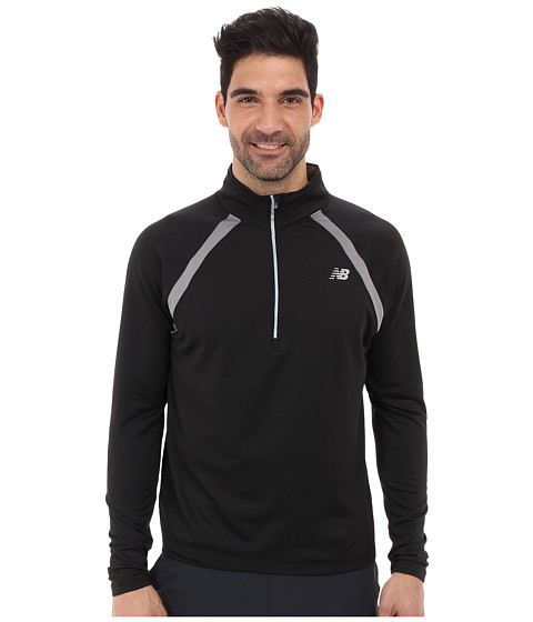 New Balance - Running Quarter Zip (Black) Men's Long Sleeve Pullover