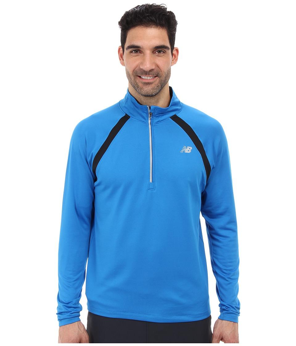 New Balance - Running Quarter Zip (Laser Blue) Men's Long Sleeve Pullover
