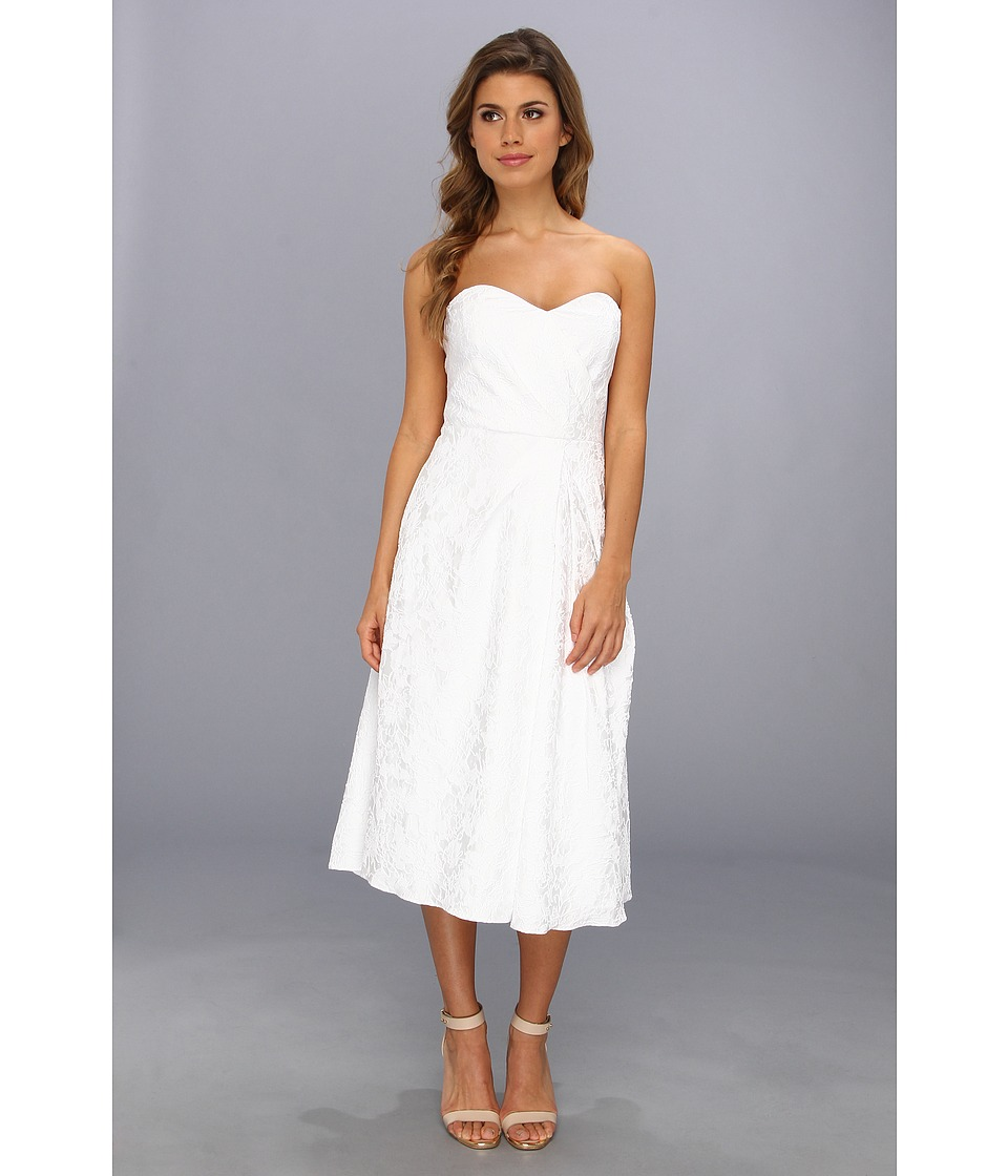 Badgley Mischka - Textured Sweetheart Strapless Cocktail Dress (White) Women's Dress