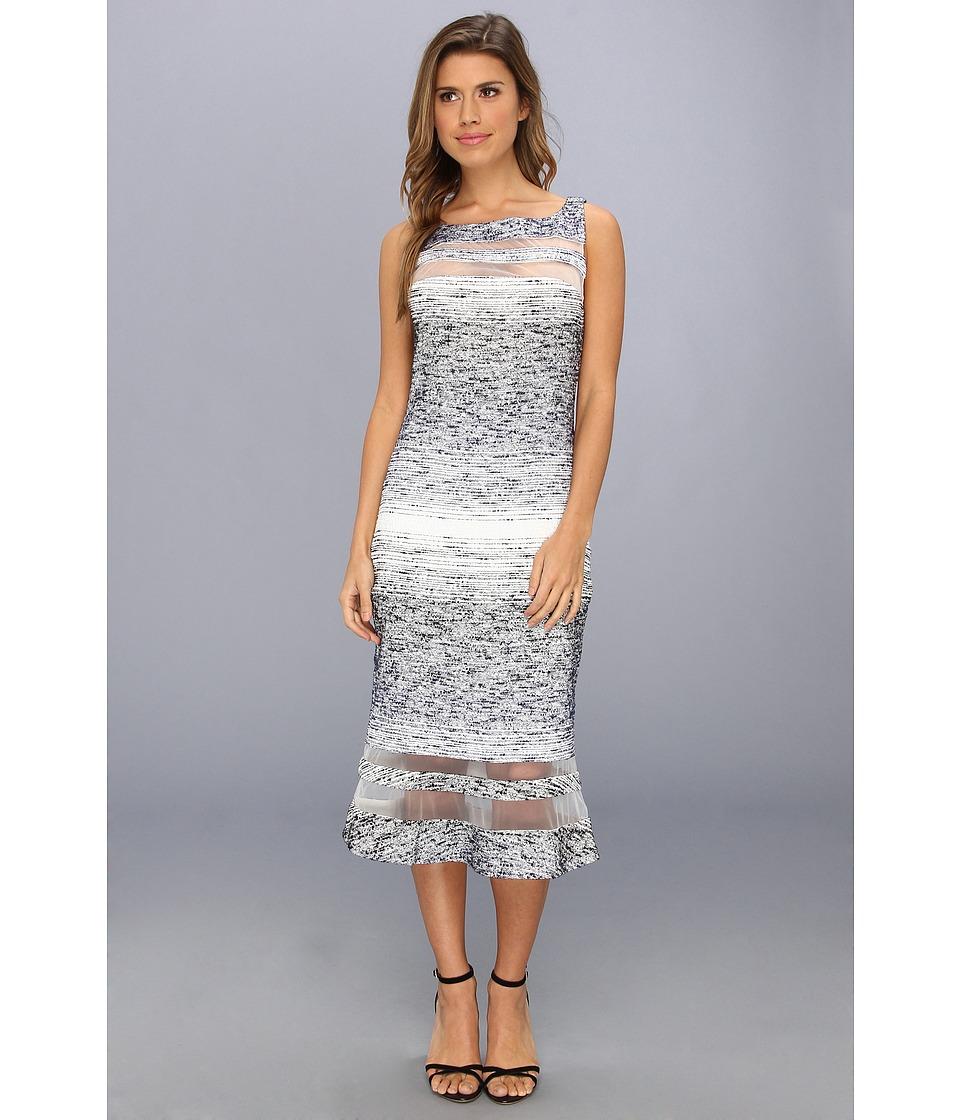 Badgley Mischka - Boucle Strip Cocktail Dress (Navy) Women's Dress