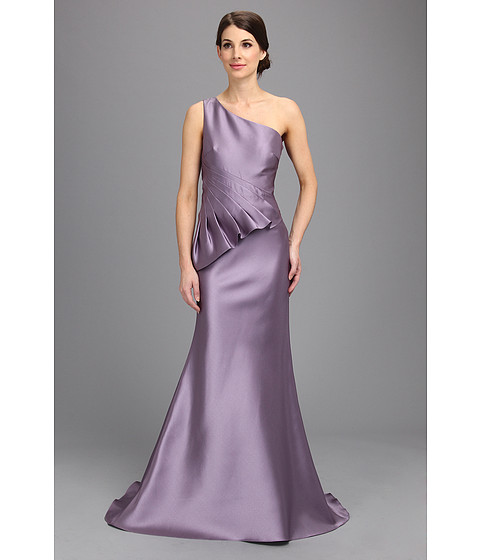Badgley Mischka - Twill One Shoulder Runway Gown (Lilac) Women's Dress