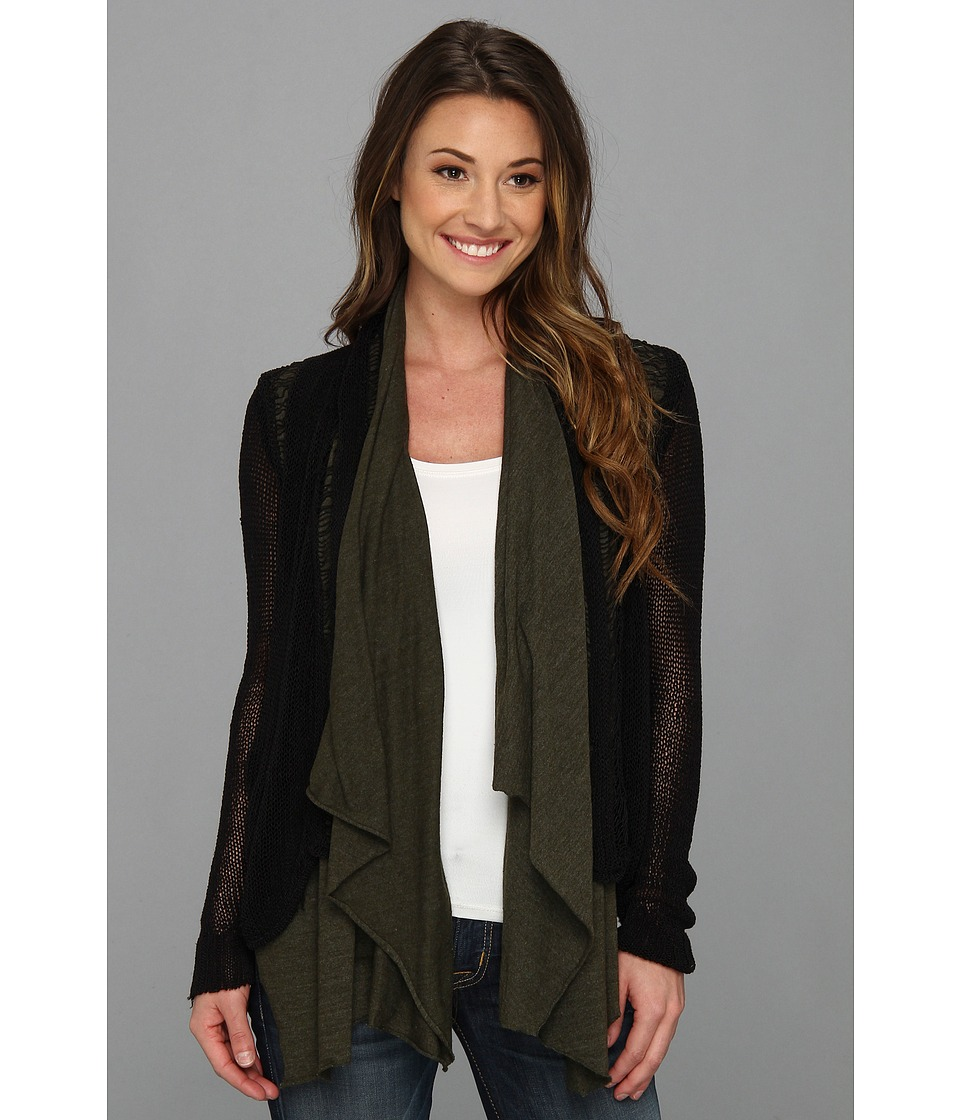 Chaser - Destroyed Open Cardi (Black) Women's Sweater