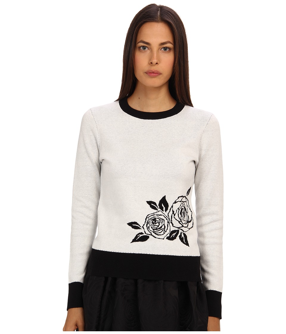Kate Spade New York - Rose Intarsia Sweater (Cream/Black) Women's Long Sleeve Pullover