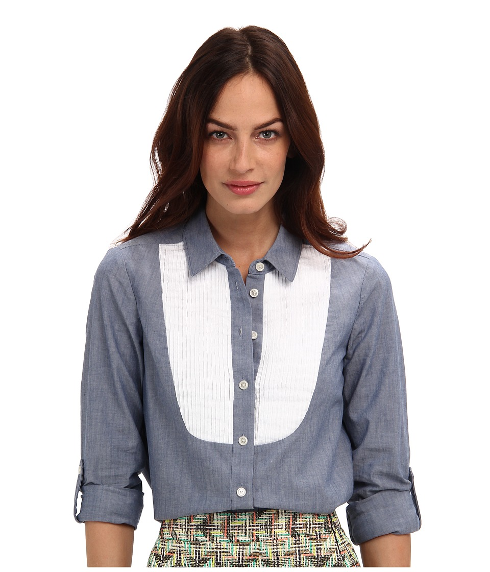 Kate Spade New York - Bib Button Down (Blue Chambray) Women's Long Sleeve Button Up