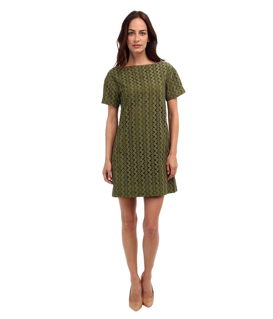 Kate Spade New York - Eyelet Short Sleeve Shift (Alma Green) Women's Dress