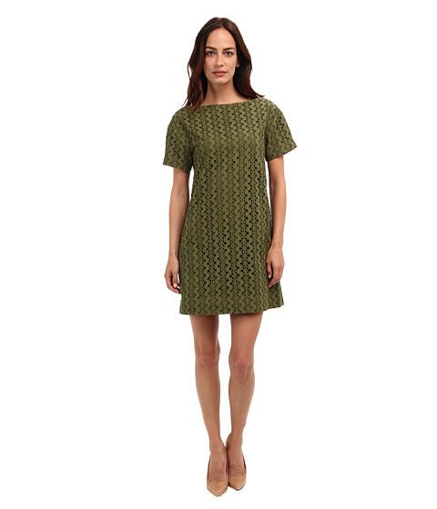 Kate Spade New York - Eyelet Short Sleeve Shift (Alma Green) Women's Dress