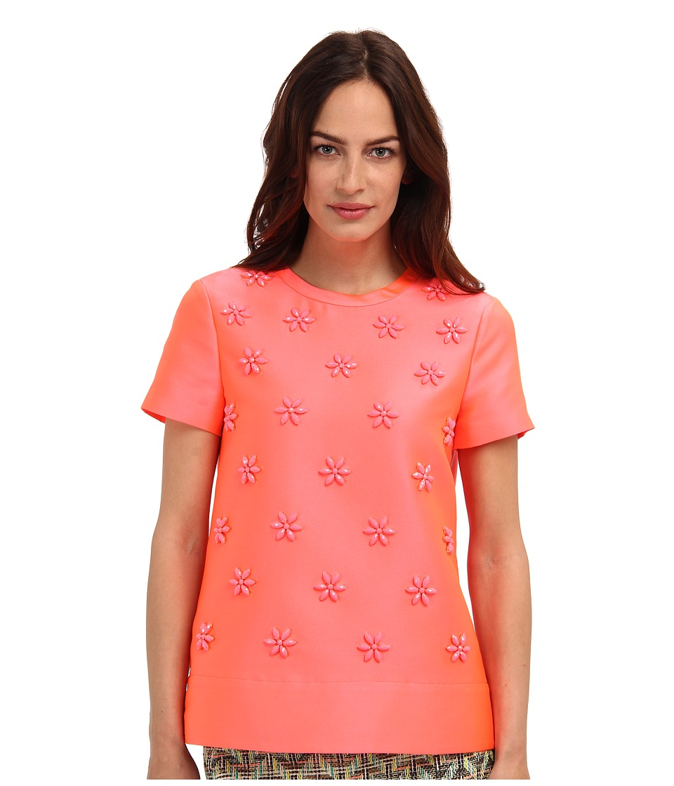 Kate Spade New York - Floral Cluster Popover (Surprise Coral) Women's Short Sleeve Pullover