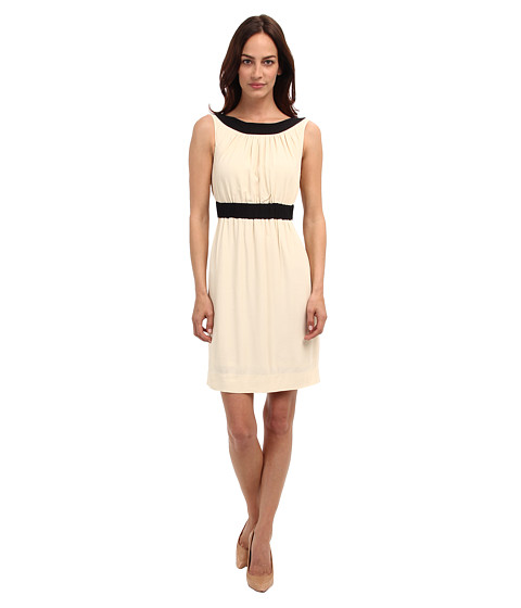 Kate Spade New York - Fluid Crepe Sheath Dress (Raw Almond/Black) Women's Dress