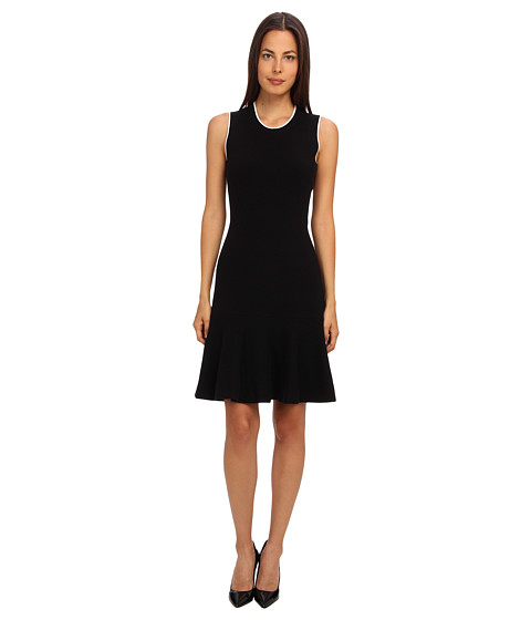 Kate Spade New York - Fluted Sweater Dress (Black) Women's Dress