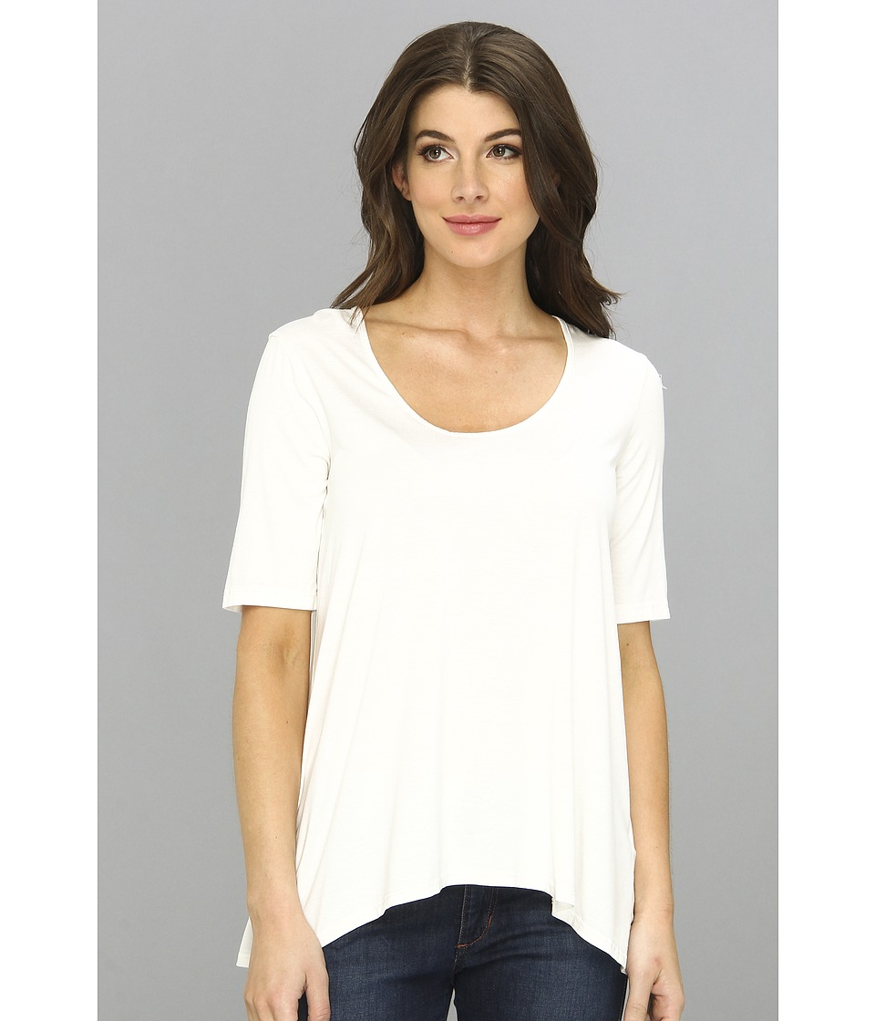Three Dots Lightweight Viscose 1/2 Sleeve Relaxed High-Low Tee (Gardenia) Women