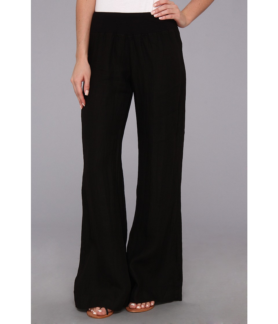 Three Dots - Wide Leg Linen Pant (Black) Women's Casual Pants