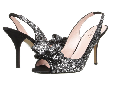 Kate Spade New York - Charm Heel (Black/Silver Glitter) High Heels