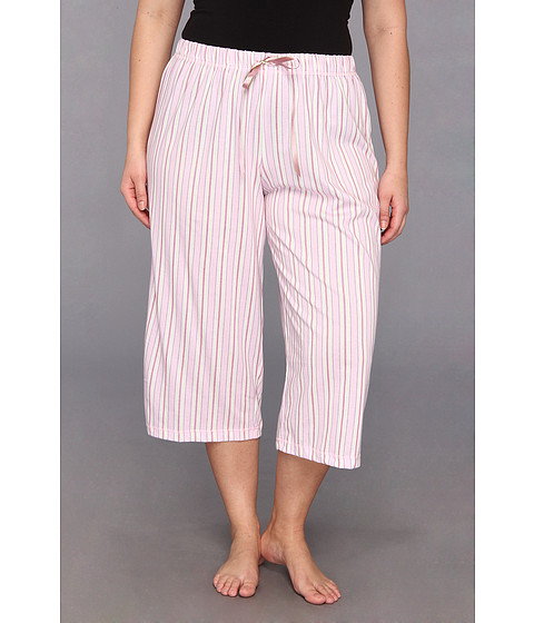 Karen Neuburger - Plus Size My Cuppa Tea KnCool Crop Pajama Pant (Stripe Dusty Pink) Women's Pajama