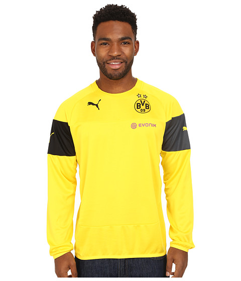 PUMA - BVB Training Sweat with Sponsor (Cyber Yellow/Black/Ebony) Men's Clothing