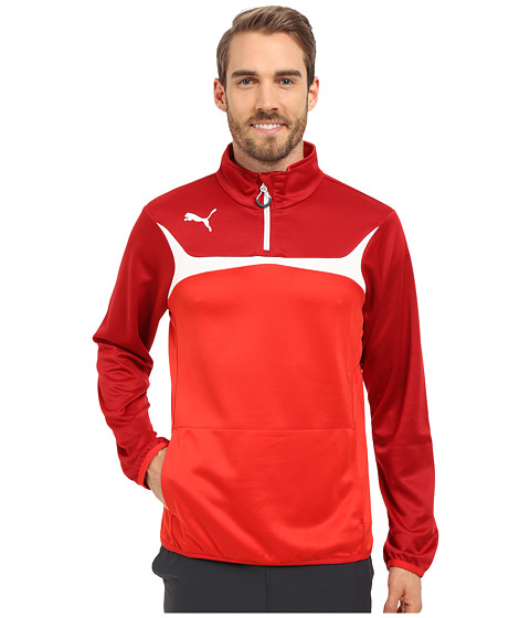 PUMA - Esito 3 1/4 Zip Training Top (Puma Red/White) Men's Sweatshirt