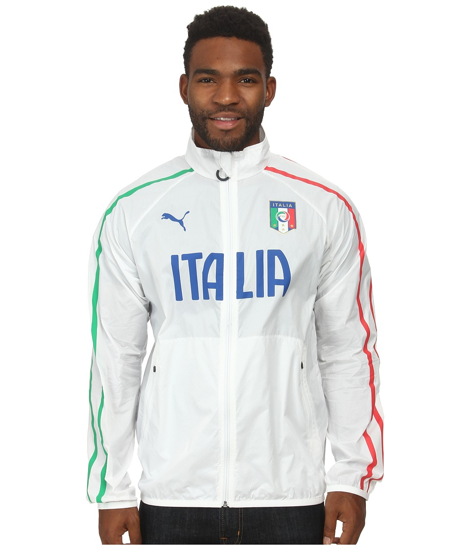 PUMA - Figc Italia Walk-out Jacket (White/Poinsettia/Bright Green) Men