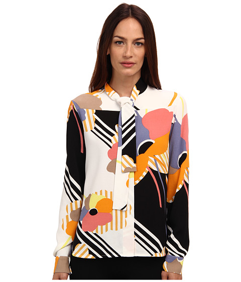 See by Chloe - L/S Shirt With Tie (Black/White) Women