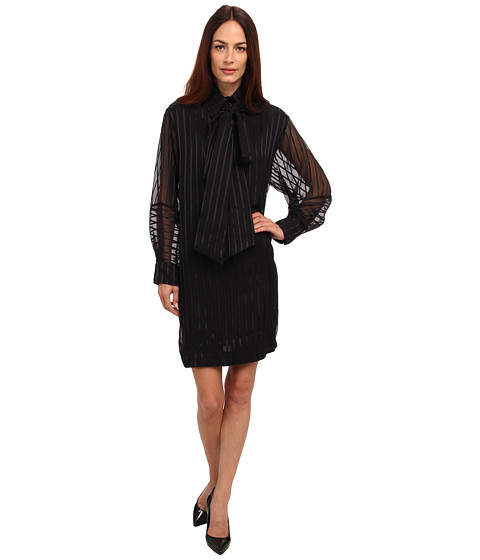 See by Chloe - L/S Dress With Collar Tie (Black) Women