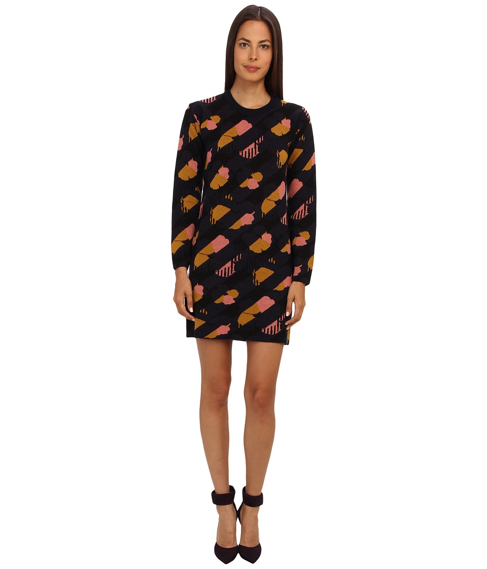 See by Chloe - L/S Knit Dress (Pink/Moutarde/Black/Navy) Women
