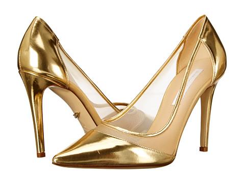 Shop Diane von Furstenberg online and buy Diane von Furstenberg Bianca Gold Specchio-Nude Mesh High Heels online