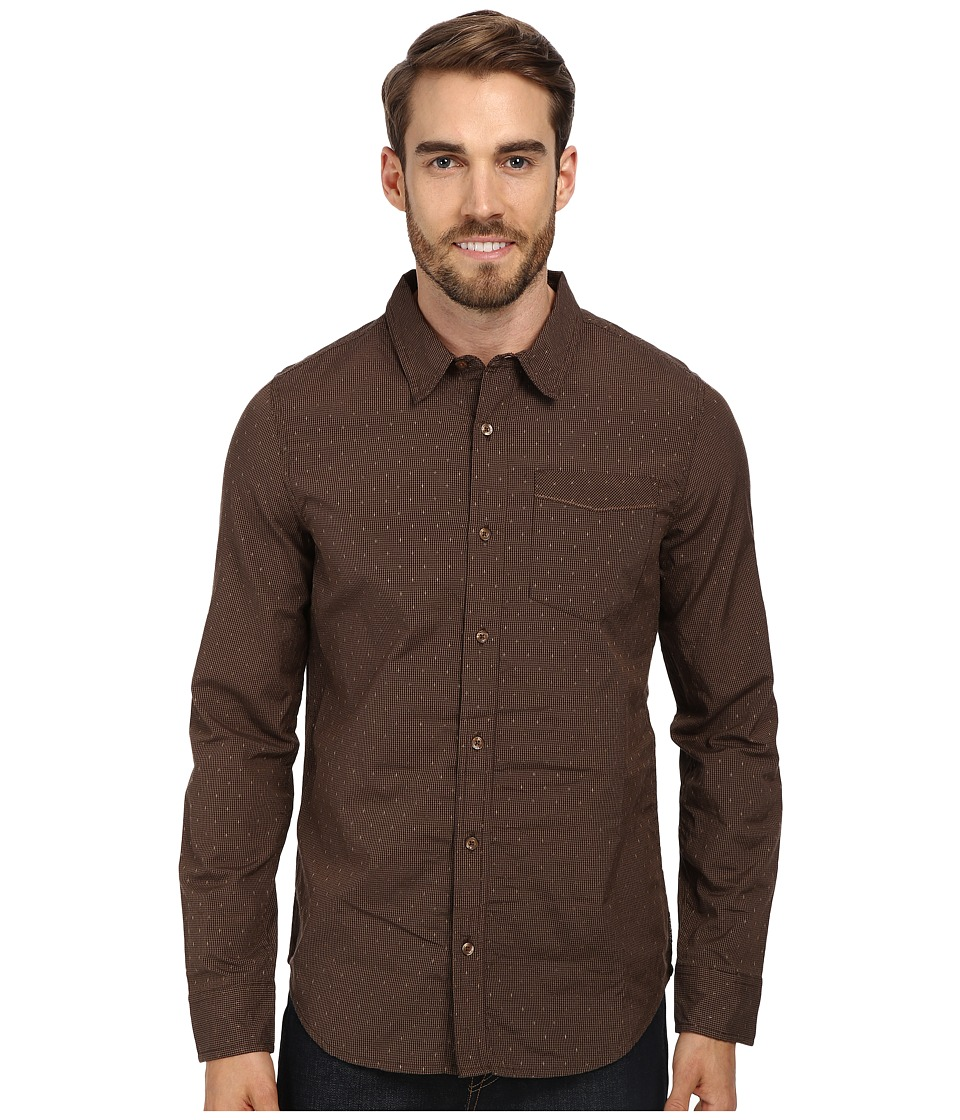 Prana - Odin Slim Shirt (Brown) Men's Long Sleeve Button Up