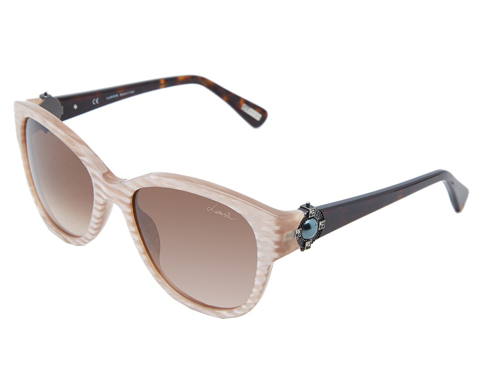 Lanvin - SLN596S (Striped Pink/Dark Havana/Pink Gradient) Plastic Frame Fashion Sunglasses