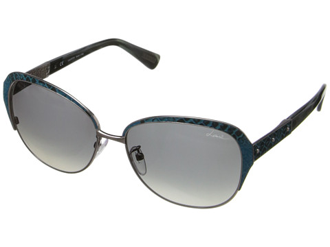 Lanvin - SLN035 (Shiny Antique Pewter/Smoke Beige) Metal Frame Fashion Sunglasses