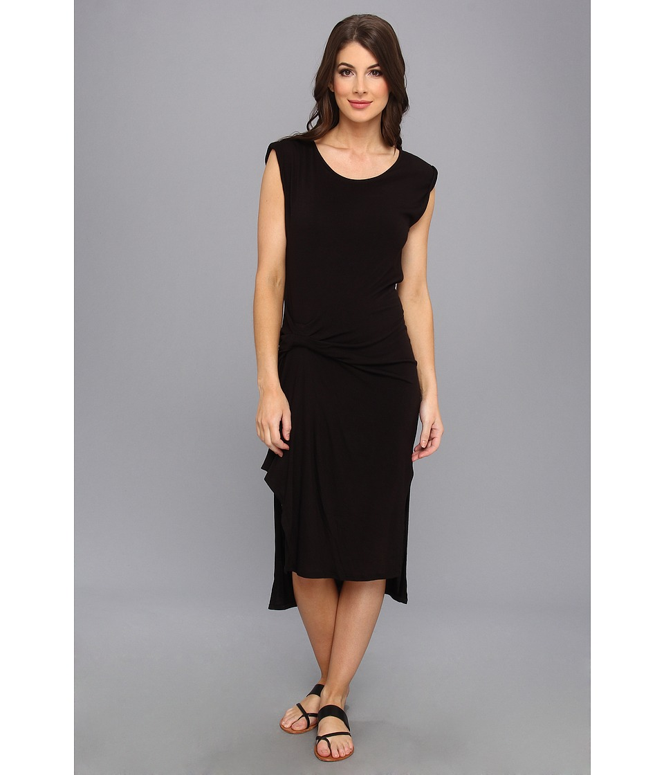 Three Dots - Pleat Drape Detail Midi Dress w/ Side Slits And Rolled Cuff (Black) Women