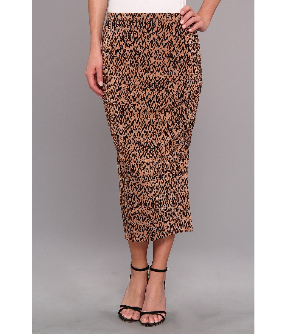 Three Dots - Ruched Midi Skirt (Nude Combo) Women