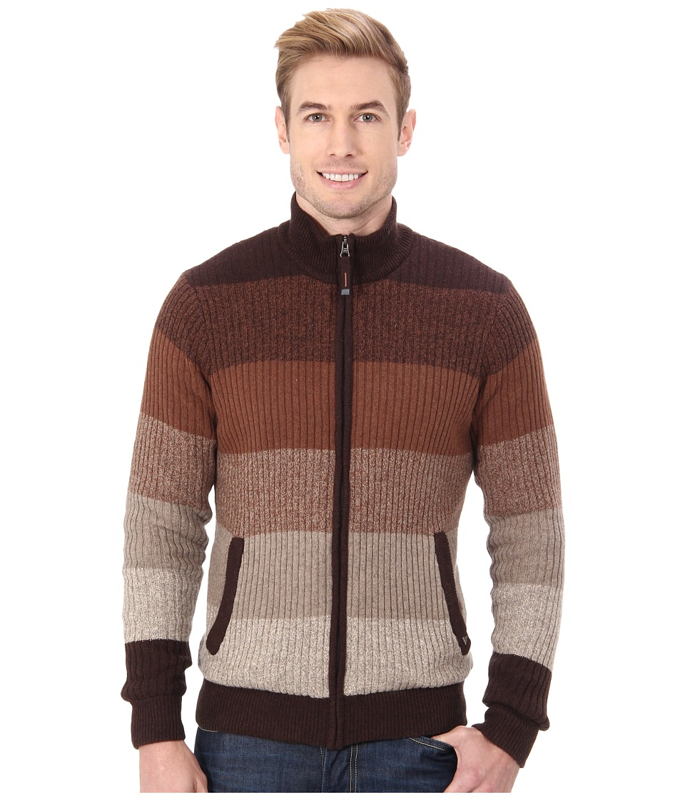 Prana - Aukland Full Zip (Brown) Men's Sweater