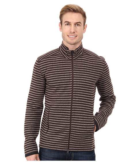 Prana - Barclay Sweater (Brown Stripe) Men's Coat