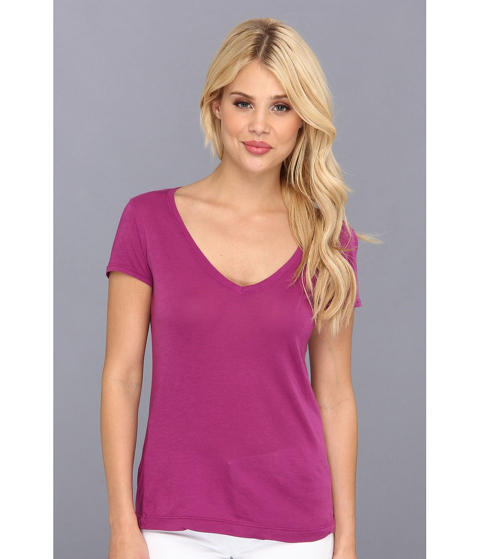 Three Dots - Jersey Colette S/S Deep V-Neck (Orchid Bloom) Women's T Shirt