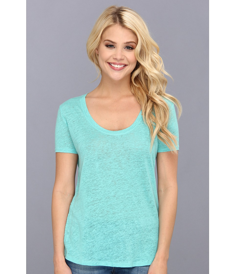 Three Dots S/S Tee w/ Rounded Front Baseball Hem (Turquoise Dream) Women